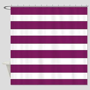 Magenta Striped Shower Curtain
