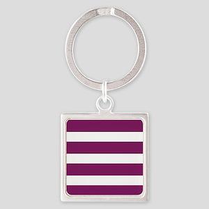 Magenta Striped Square Keychain