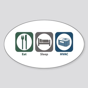 Eat Sleep HVAC Oval Sticker