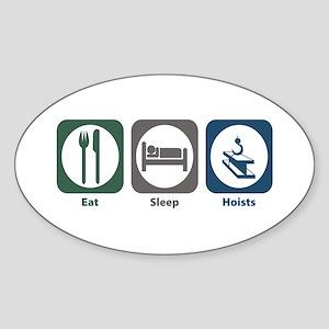 Eat Sleep Hoists Oval Sticker
