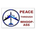 Peace through Whoop-Ass Rectangle Sticker