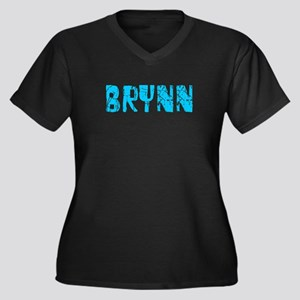 Brynn Faded (Blue) Women's Plus Size V-Neck Dark T