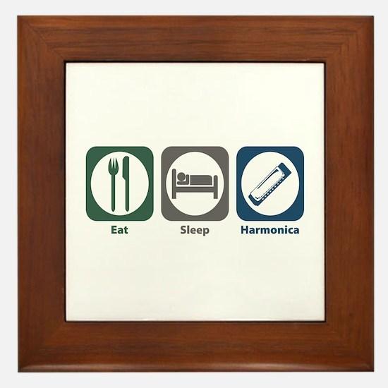 Eat Sleep Harmonica Framed Tile