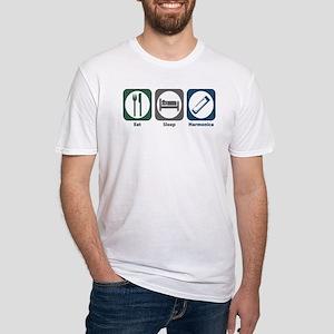 Eat Sleep Harmonica Fitted T-Shirt