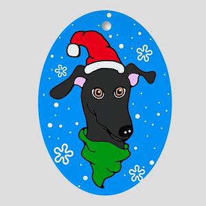 Oval Ornament Black Greyhound Santa Snowflake