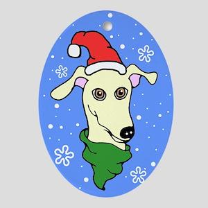 Oval Ornament Fawn Greyhound Santa Snowflake