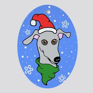 Oval Ornament Gray Greyhound Santa Snowflake