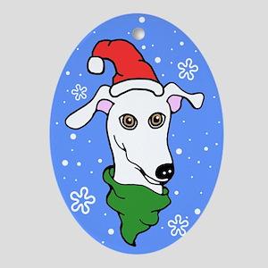 Oval Ornament White Greyhound Santa Snowflake
