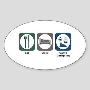 Eat Sleep Game Designing Oval Sticker