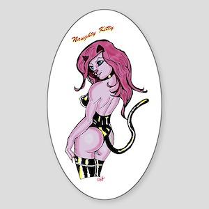 Naughty Kitty Girl in Vinyl Oval Sticker