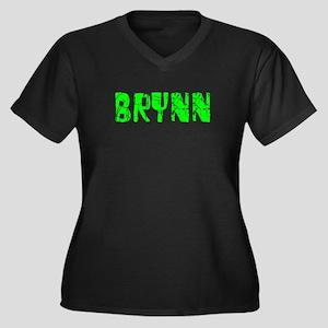 Brynn Faded (Green) Women's Plus Size V-Neck Dark