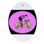 Abstract Bicycle Riding Print Oval Ornament