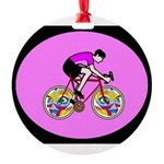 Abstract Bicycle Riding Print Round Ornament