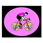 Abstract Bicycle Riding Print Small Poster