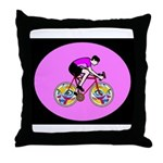 Abstract Bicycle Riding Print Throw Pillow