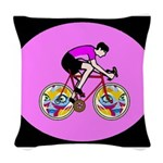Abstract Bicycle Riding Print Woven Throw Pillow