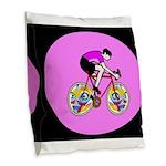 Abstract Bicycle Riding Print Burlap Throw Pillow