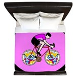 Abstract Bicycle Riding Print King Duvet