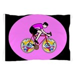 Abstract Bicycle Riding Print Pillow Case
