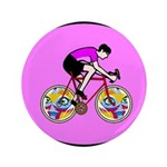 "Abstract Bicycle Riding Print 3.5"" Button (100 pac"