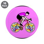 "Abstract Bicycle Riding Print 3.5"" Button (10 pack"
