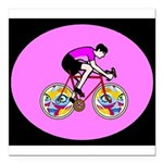 Abstract Bicycle Riding Print Square Car Magnet 3""