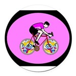 Abstract Bicycle Riding Print Round Car Magnet