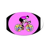 Abstract Bicycle Riding Print Oval Car Magnet