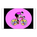 Abstract Bicycle Riding Print Sticker