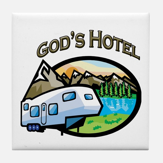 God's Hotel Tile Coaster