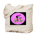 Abstract Bicycle Riding Print Tote Bag