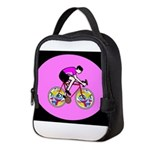 Abstract Bicycle Riding Print Neoprene Lunch Bag