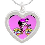 Abstract Bicycle Riding Print Necklaces