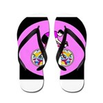 Abstract Bicycle Riding Print Flip Flops