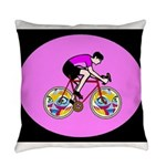 Abstract Bicycle Riding Print Everyday Pillow