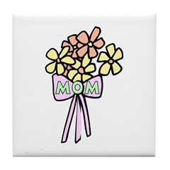 Mothers Gift Flowers Tile Coaster