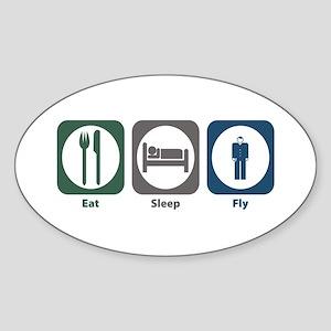 Eat Sleep Fly Oval Sticker