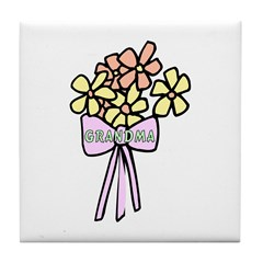 Grandma's Flowers Tile Coaster