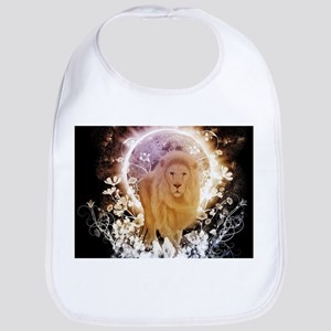 Beautiful lion with flowers, colorful Baby Bib