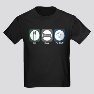 Eat Sleep Fix Stuff Kids Dark T-Shirt
