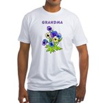Grandma Pansies Fitted T-Shirt