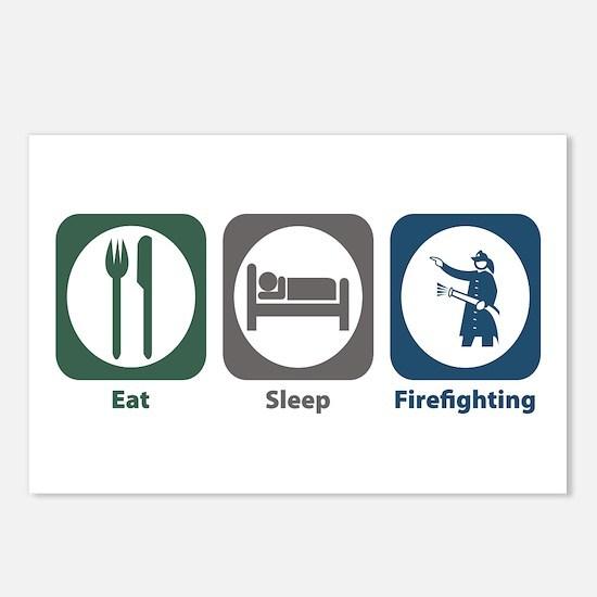 Eat Sleep Firefighting Postcards (Package of 8)