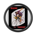 Biking Is My Passion, Bicycle Large Wall Clock