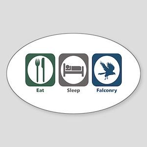 Eat Sleep Falconry Oval Sticker