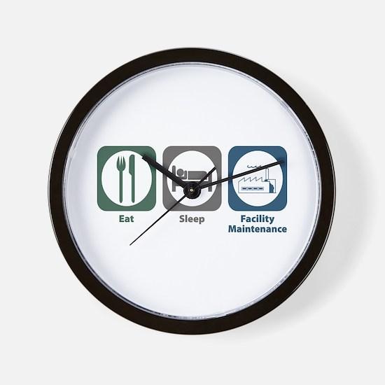 Eat Sleep Facility Maintenance Wall Clock