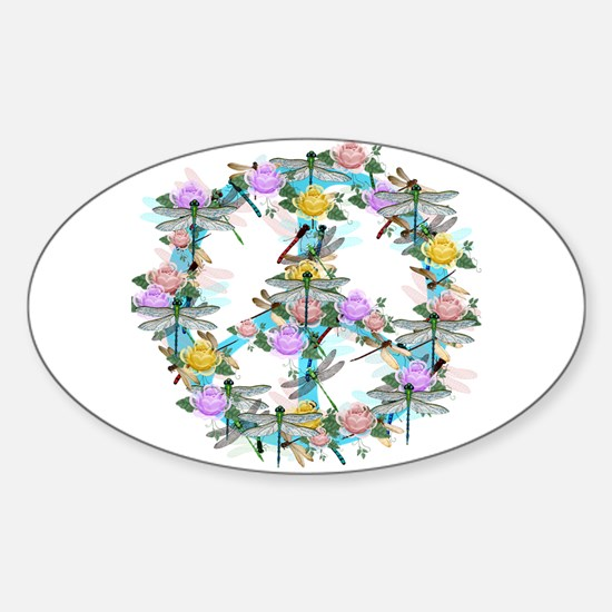 Dragonfly Peace Sign Sticker (Oval)
