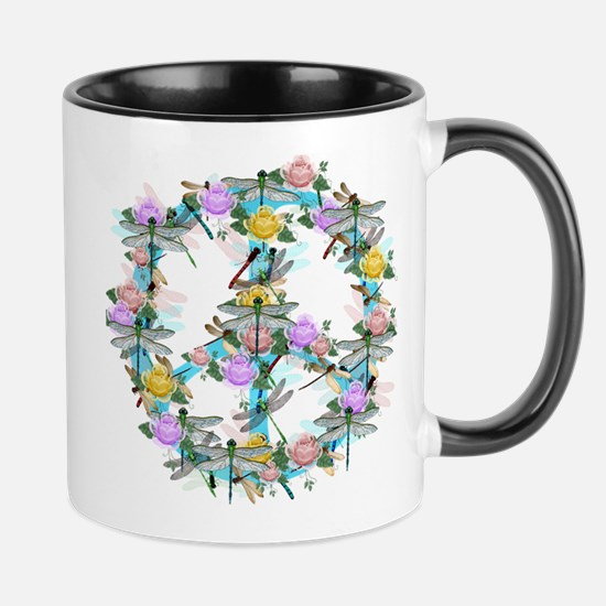 Dragonfly Peace Sign Mug