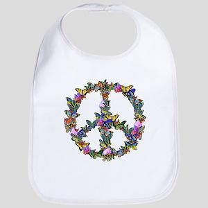 Butterflies Peace Sign Bib
