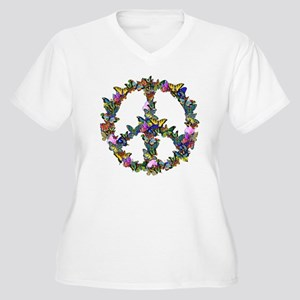 Butterflies Peace Sign Women's Plus Size V-Neck T-