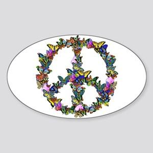 Butterflies Peace Sign Sticker (Oval)